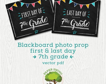 Printable Blackboard Photo Prop 7th Grade (First & Last Day of School)