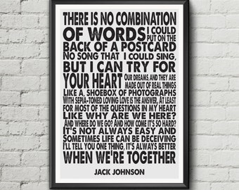 Jack Johnson - Better Together - Lyric Art Typography music Print Poster digital Download valentine