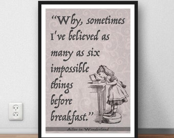 Alice in Wonderland printable ,  , Lewis Carroll , Printable art ,  Quote,  gift, Instant download, Alice in Wonderland Quote