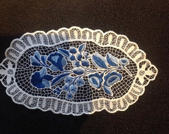 Unique Hand embroidered Hungarian Kalocsa Lace doily / blue  15 x 8.5""