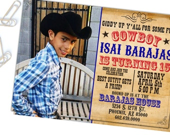 Boy Cowboy Birthday,Cowboy, Cowboy Western Party Invitation, DIY, Printable Invitation