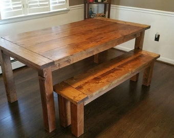 Farmhouse Dining Table w/ Bench