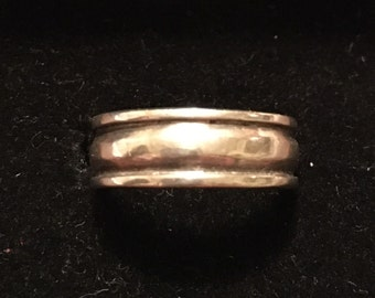 Vintage 1990s Sterling Silver Wide Band Ring... Size: 6.5