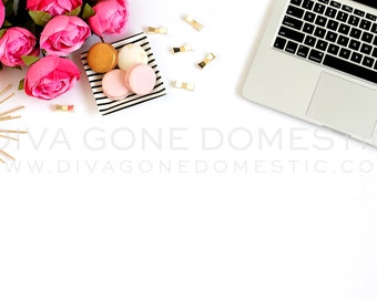 Styled stock photography pink roses with tech laptop computer for bloggers, websites product photos art prints stationery design mock up