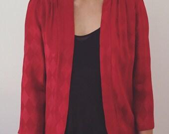 Vintage Jacket in Ruby Red // 70's 80's Top Shop // Harlequin Jacket