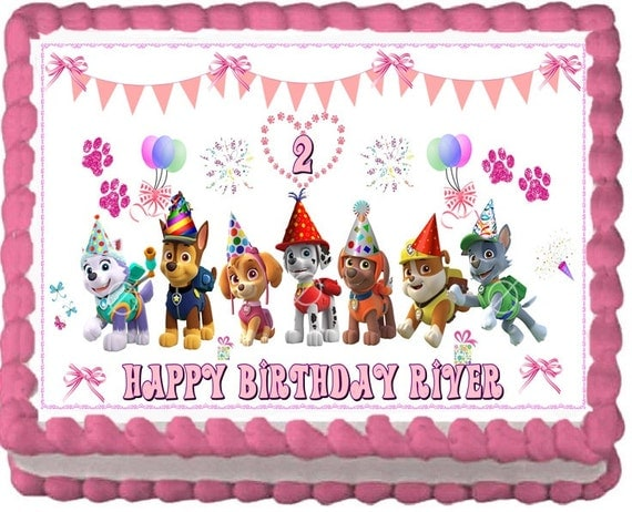 Paw Patrol Edible Cake Topper Decoration by RobinBlues on Etsy