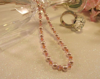 "20"" Swarovski Pink Pearl & Crystal Necklace"