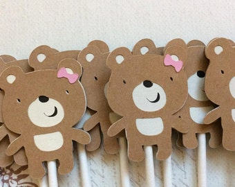 12 Adorable Girl Teddy Bear Cupcake toppers