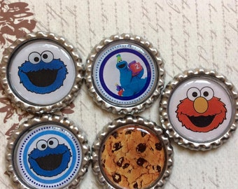SET of 5 - Elmo and Cookie Monster Bottle Caps For Pendants, Hairbows Hair Bow Centers - Ready to use