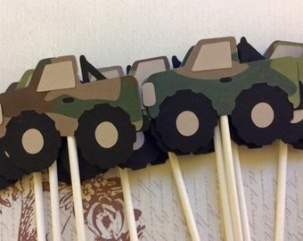 12 Camo Monster Truck Cupcake Toppers/ Birthday Toppers/ Men Party toppers