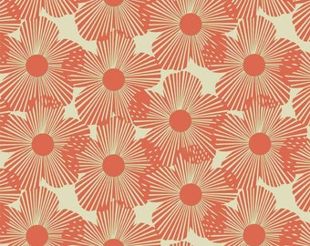 STYL Mod Coral  Abstract Flower Fabric Newcastle Cotton Quilt Fabric BFab