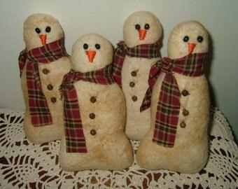 Primitive Snowman Ornies~Bowl Fillers~Set Of 4!
