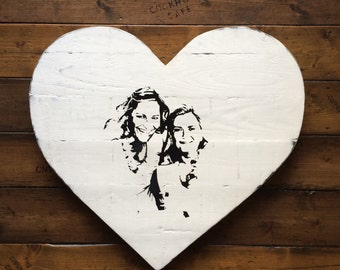 Heart shaped personalised wooden art
