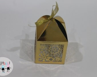 Flower Power Gold Party Favor Box- Pack of 10