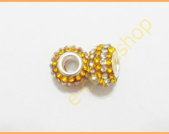 Bead large holes with rhinestones bicolor white and honey