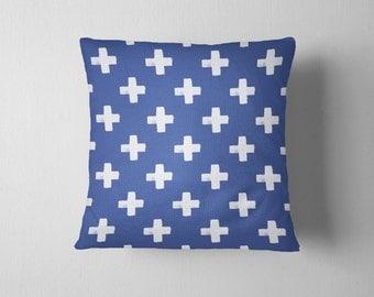 Indigo swiss cross throw pillow