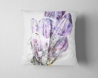 Purple amethyst crystal throw pillow