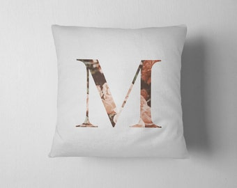 Initial letter throw pillow - Vintage flower pattern