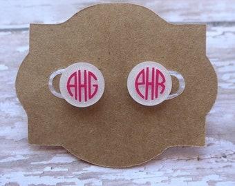 Mongram stud earrings