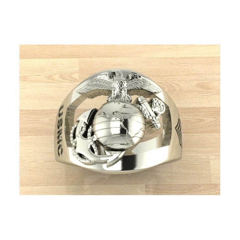 continuum sterling silver marine corps ring with rank on the