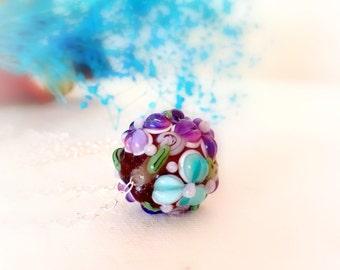 Flower  glass  bead lampwork necklace pendant  Birthday gift idea