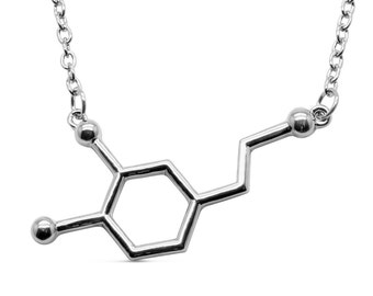 Dopamine Molecule Necklace Silver-Tone Alloy - Molekül Anhänger Halskette Dopamin Happy Geek Student Pharmacy by Serebra Jewelry