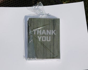 Set of 10 Thank You Cards - Green Wooden Background - 4x6.125 Note Cards (Blank)