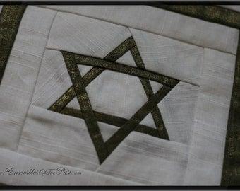 Passover Motzah Bag - Jewish - Hebraic Tradition - Matzah Tosh - Linen partitioned bag - Star of David - Heirloom