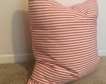 Striped pillow// Red and cream pillow // decorative pillow// home decor// down alternative//