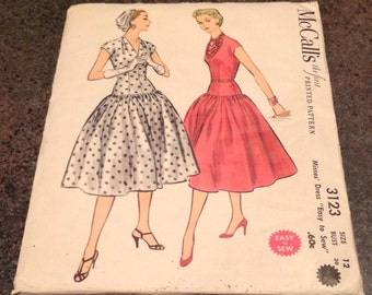 McCall's Printed Pattern 3123 Dropped Waist Dress Mid Century 1950's Sewing Pattern Size 12 Bust 30