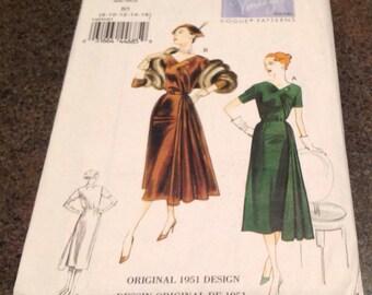Vogue V8850 Vintage Sewing  Pattern Original 1951 Misses Dress And Belt Fitted Bodice Loose Fitting Skirt 8-16