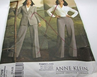 Vogue  2759 Anne Klein American Designer Sewing Pattern Misses Jacket Top Pants Fitted  Lined Below Hip Size 18 20 22 Uncut FF