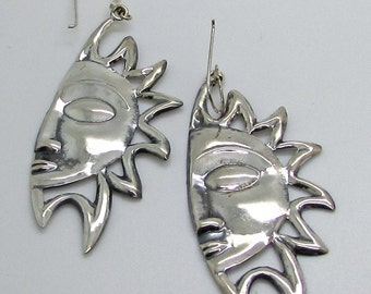 Sterling Silver Celestial Sun  Sunface Large Dangle Drop Dangling Earrings French Hook Wire 925 Fun Holiday Vacation Summer Holiday