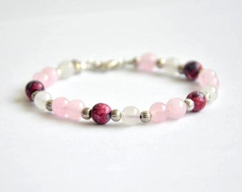Bracelet pink jasper, white and pink jade and tibetan silver. 6mm beads. Drop shaped charm