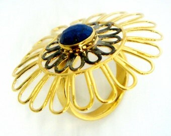 Ring With Blue Gemstone In Gold Plated