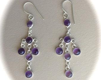 Chandelier Sterling Silver Amethyst Earrings