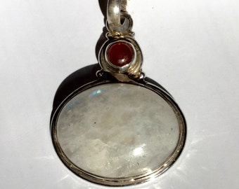 Sterling Silver Moon Stone and Carnelian Pendant 1.5""
