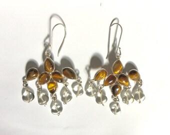 Sterling Silver Tiger Eye Chandelier Earrings