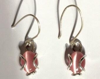 """Sterling Silver Pink Cat's Eye Drop Earrings 1"""""""