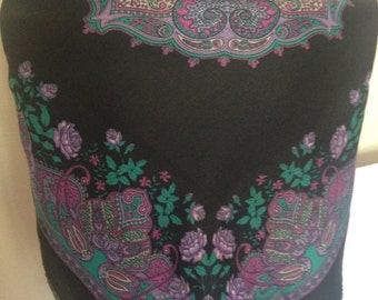 1980's Black and Purple Paisley/Floral Scarf