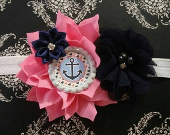 SALE!! Pink & Navy Anchor Nautical Sailor Small Double Flower Headbands/Clips/Barrettes