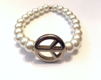 peace and pearls bracelet