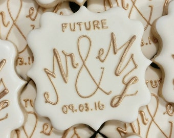 Future MR & MRS Cookies for Wedding, Bridal Shower, Engagement Party - One Dozen (12)
