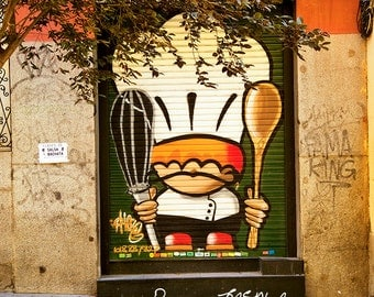 Spain print, colorful graffiti, kitchen art, Madrid photo, whimsical wall art, restaurant art, Spanish art, street photo, cute and colorful