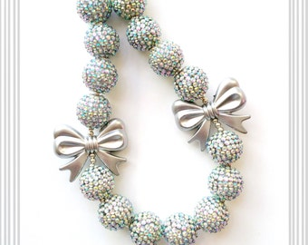 Silver Glam Chunky Bead Necklace