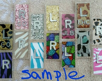 X-ray Markers Animal Print Variety of Colors with initials lead letters