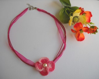Crochet necklace with flower for child or adult