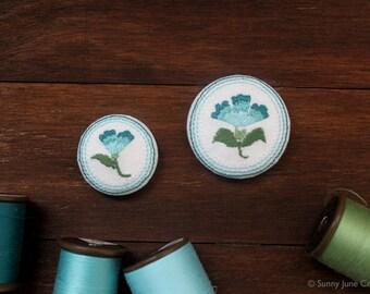 Embroidered fridge magnets - blue flower magnets