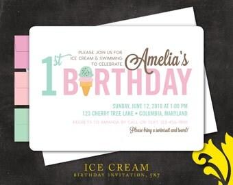 ICE CREAM . birthday invitation