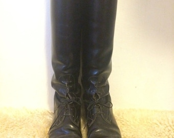 Vintage Equestrian Riding Boots,tall black knee-high leather boots, women's sz 8 boot,ankle laced ankle boots,